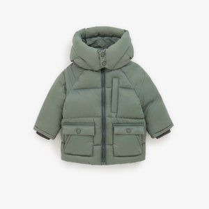 ZARA DOWN PUFFER JACKET WITH OVERSIZED HOOD